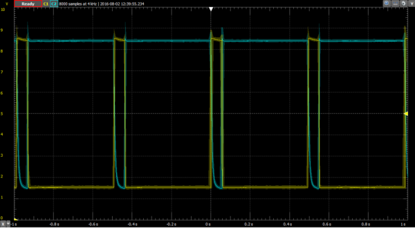 A simple BJT oscillator on the oscilloscope. The input (9V) never changes, so the output is solely dependent on the passage of time.