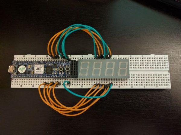 A Cmod A7 Stopwatch.