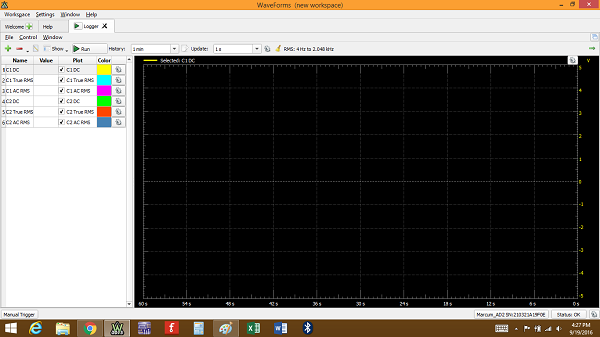 The Data Logger tool controls and plot.