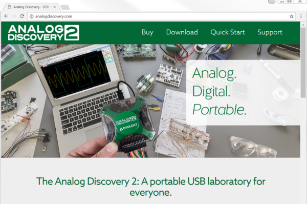 The first glimpse of AnalogDiscovery.com. You can see the Analog Discovery 2 taking a break from working on a digital projects, to debug an analog circuit.
