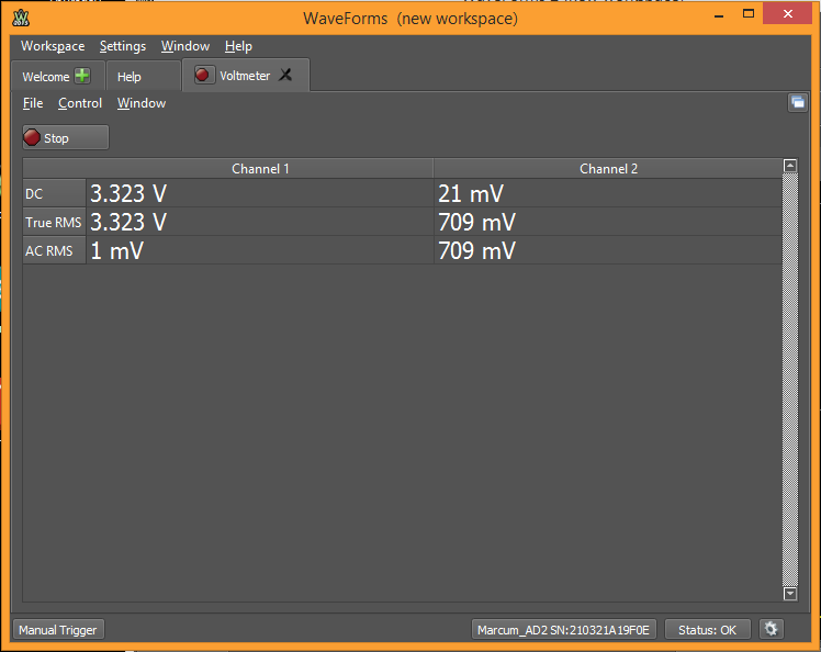 Waveforms Tools with the AD2 and EEBoard: The Voltmeter