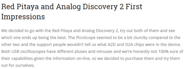 Red Pitaya and Analog Discovery 2… How Do They Compare? – Digilent