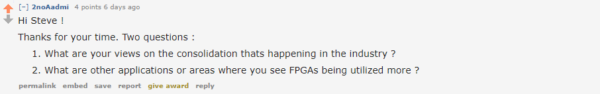 Question from Reddit - What will happen to FPGAs?