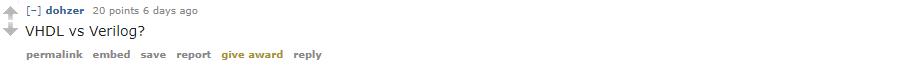 Question from Reddit - VHDL or Verilog