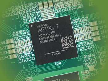 A picture of an Artix-7 on a printed circuit board
