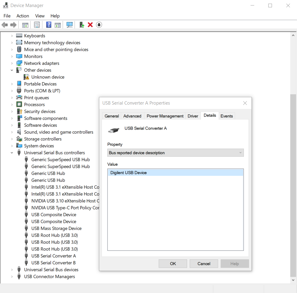 Looking for USB Device in Device Manager