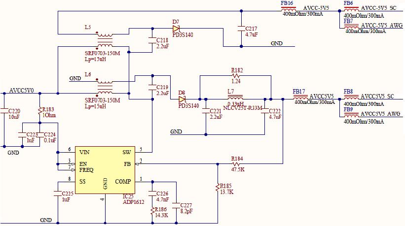Figure 30. ±5.5V internal analog supplies.