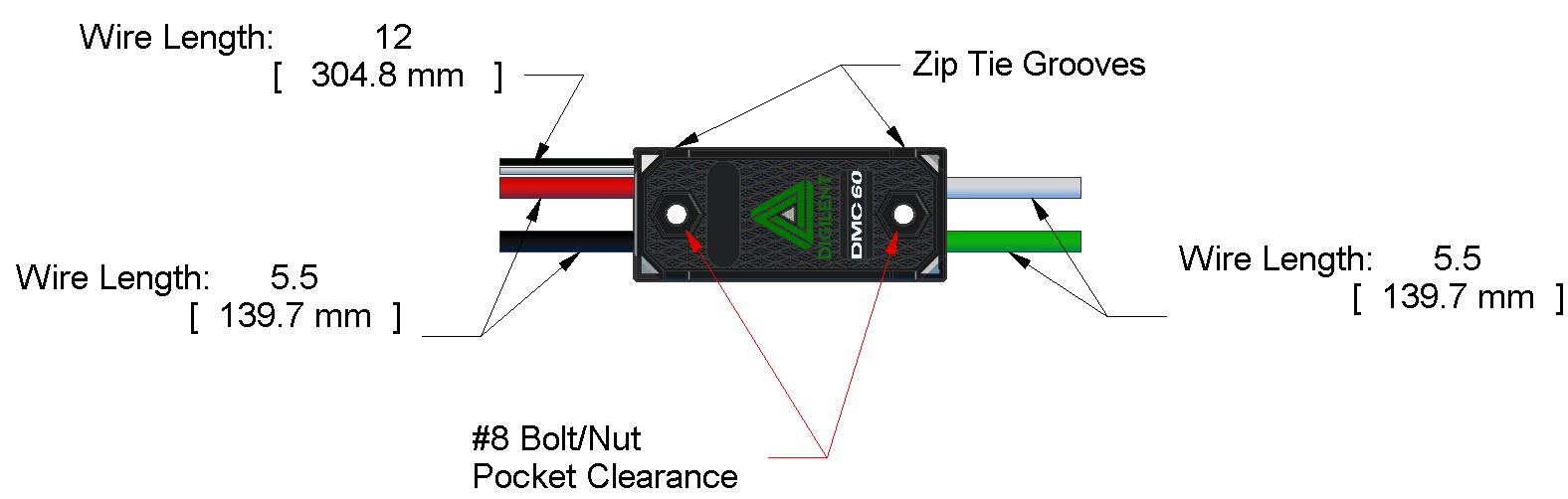 DMC 60 accessory dimensions.