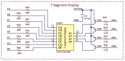 Figure A.3 Four digit seven segment display schematic.