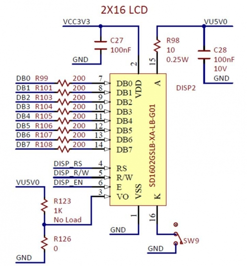 Figure A.1. LCD connection schematic diagram for Labs 3a and 3b.
