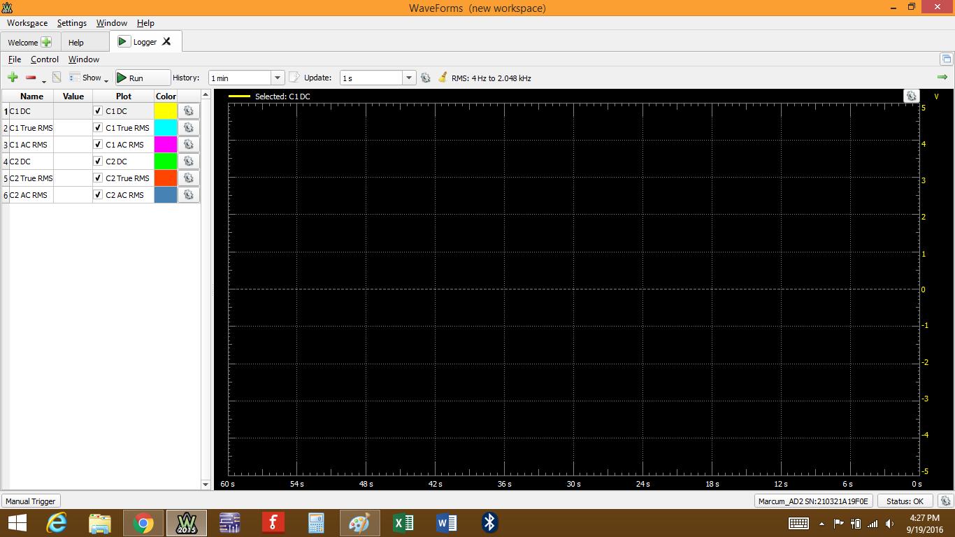 Figure 2. Data logger window.