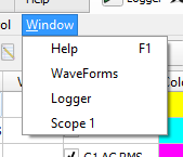 Figure 6. Window drop-down menu.