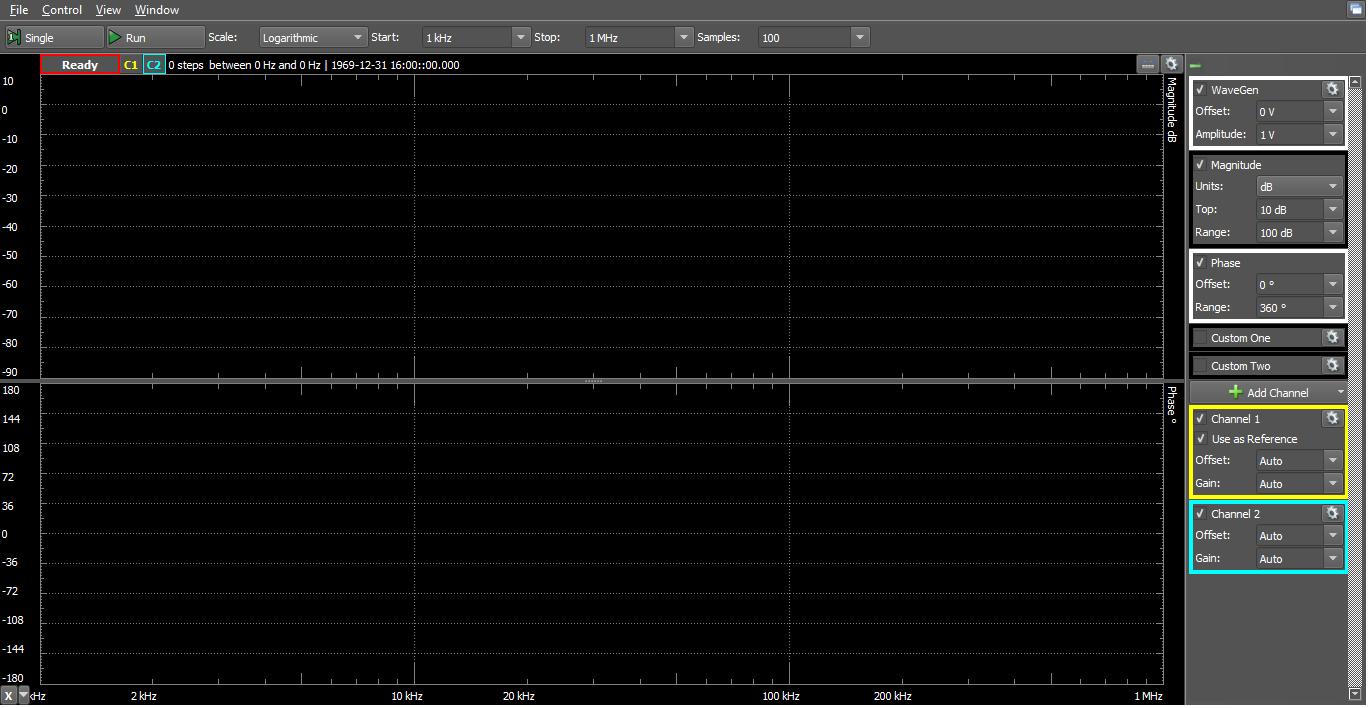 Figure 5. Network analyzer window.