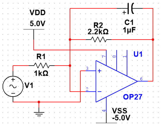 Figure 10. Active low-pass filter circuit.