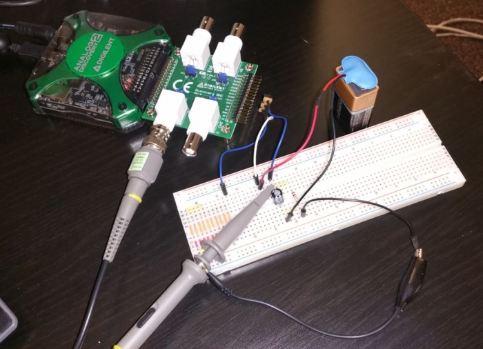 Figure 49. Using the BNC Adapter and test probes.