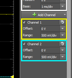 Figure 8. Adjusting options for channel 1 and 2.