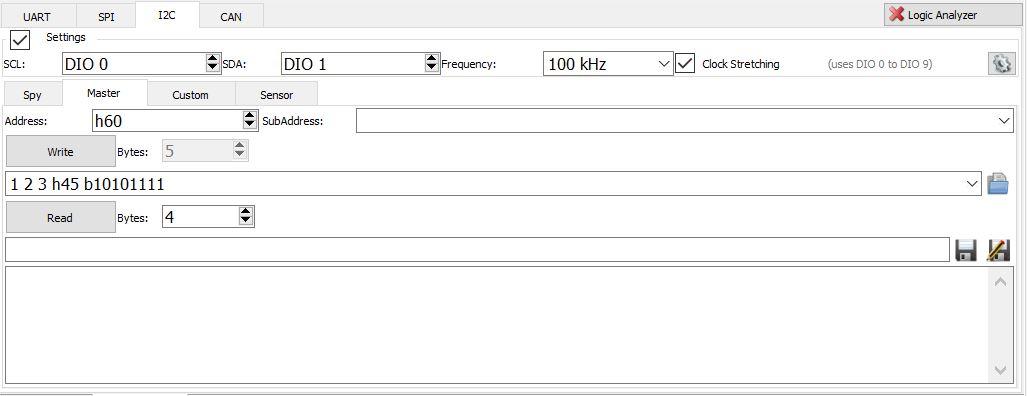 Figure 17. I2C tab.
