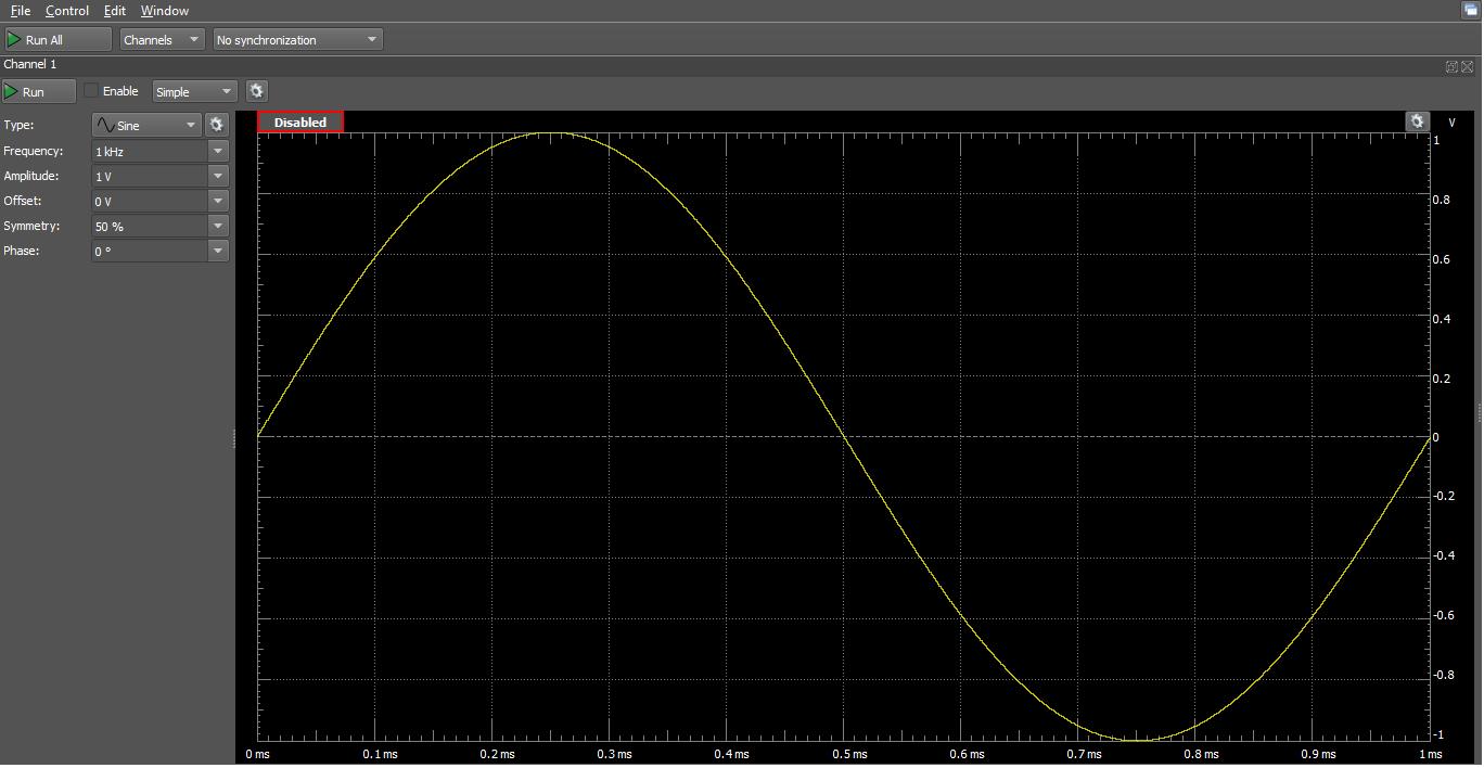 Figure 5. Waveform generator window.