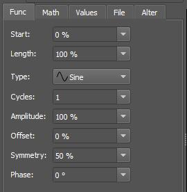 Figure 43. Parameters in the Function tab.