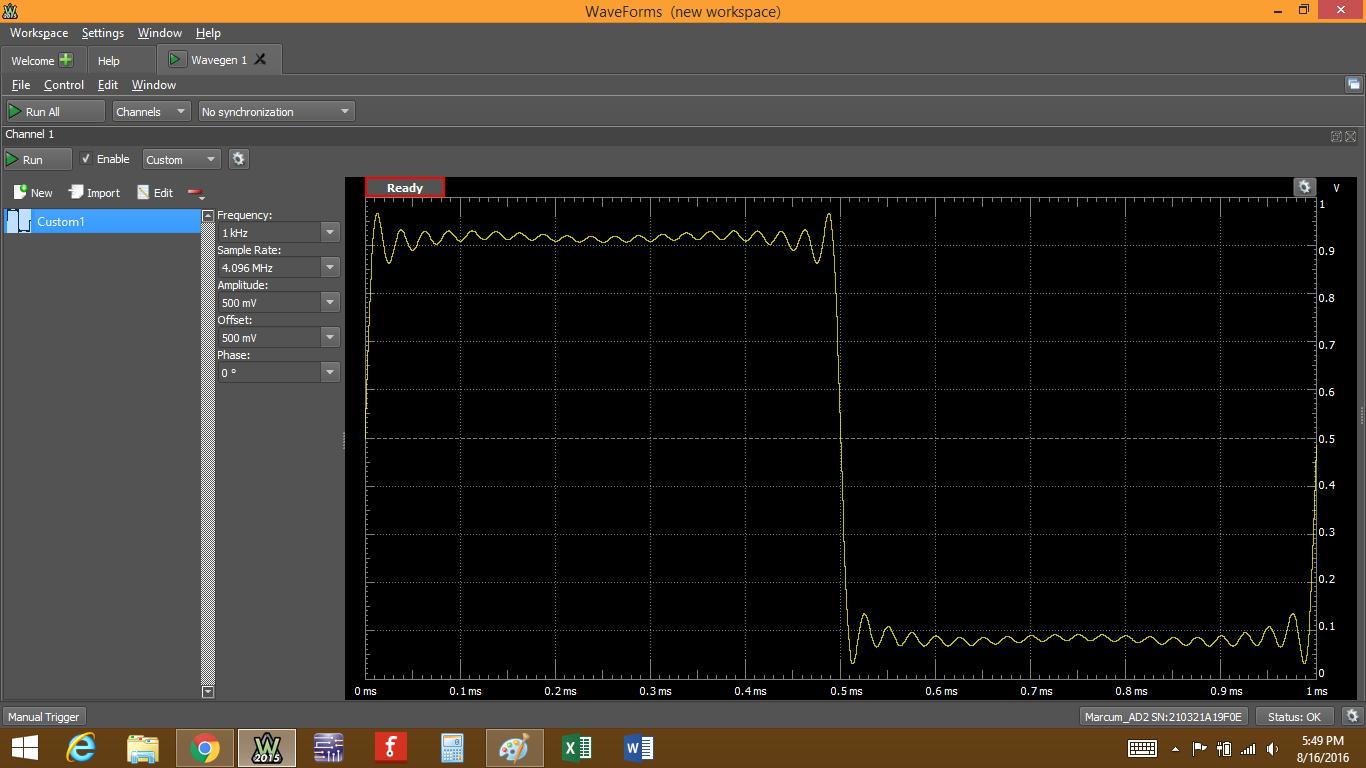 Figure 73. New waveform populating the main wavegen window.