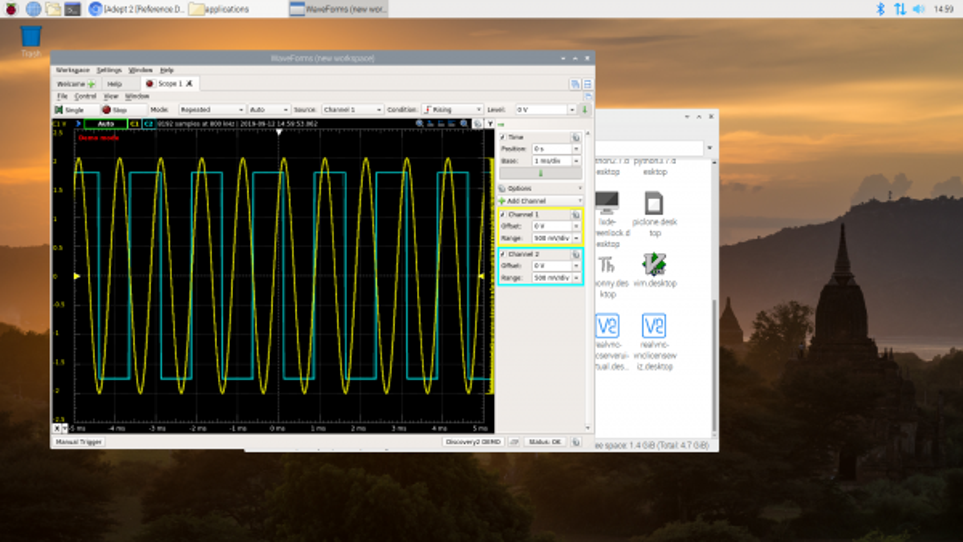 Demo mode oscilloscope.