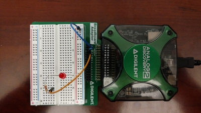 Analog Discovery 2 and the BreadBoard Adapter using the included breadboard (click to enlarge