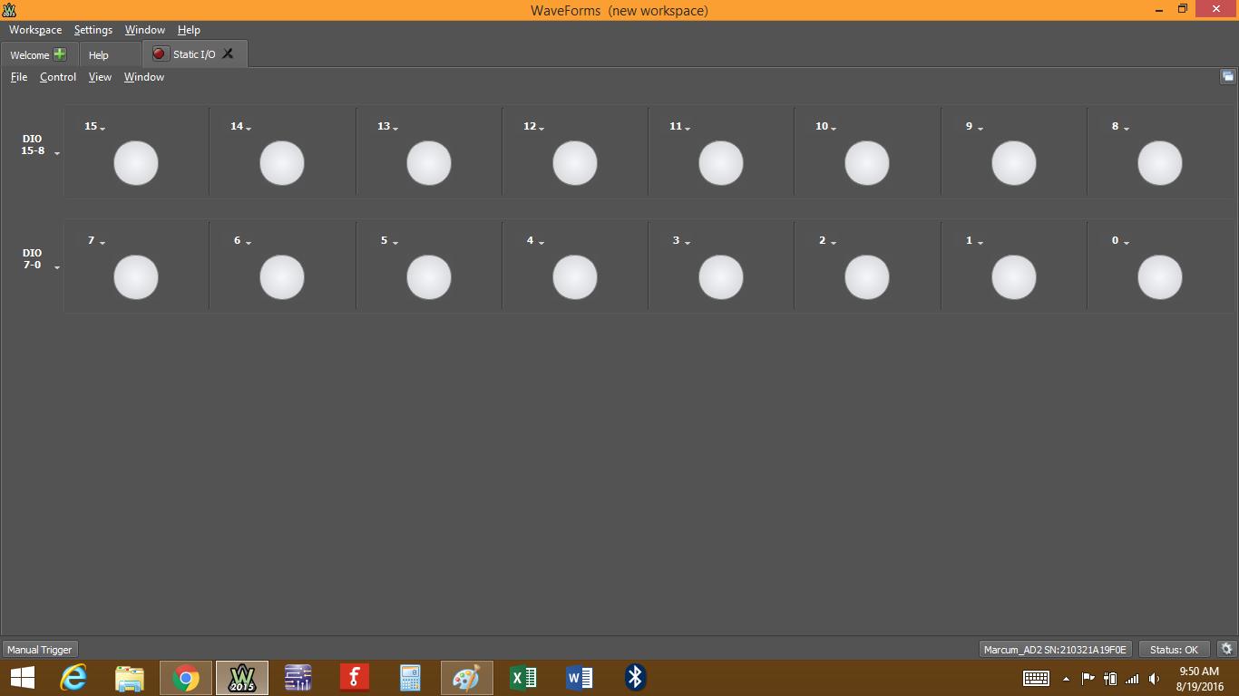 Figure 2. Static I/O window.