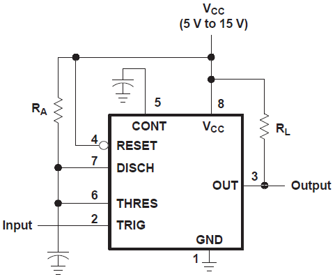 Figure 4. General circuit layout for monostable 555 timer.