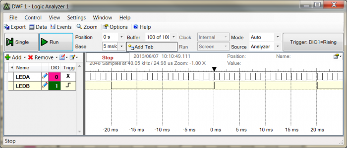 Figure 1. Screen capture for 20 ms delay.