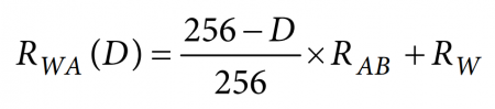 Equation for the resistance between the wiper terminal (W) and the A terminal, where D represents the sent 8-bit value in decimal