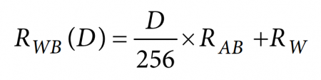 Equation for the resistance between the wiper terminal (W) and the B terminal, where D represents the sent 8-bit value in decimal
