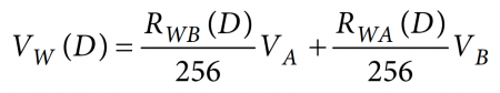 Equation for the output voltage of the wiper terminal (W) in the voltage divider setup, where D represents the sent 8-bit value in decimal