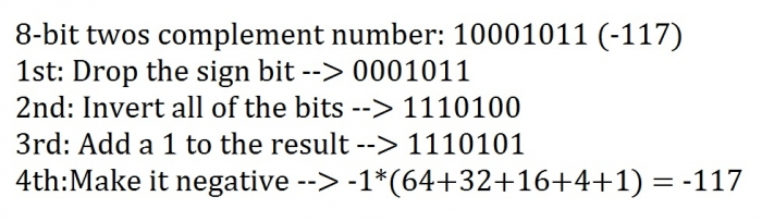 8-bit Two's Complement Conversion example 1