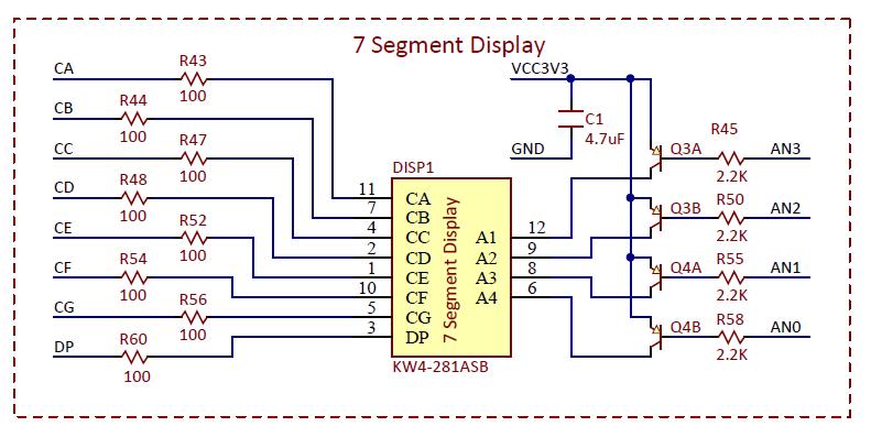 Figure 7.1. 7-segment display schematic.