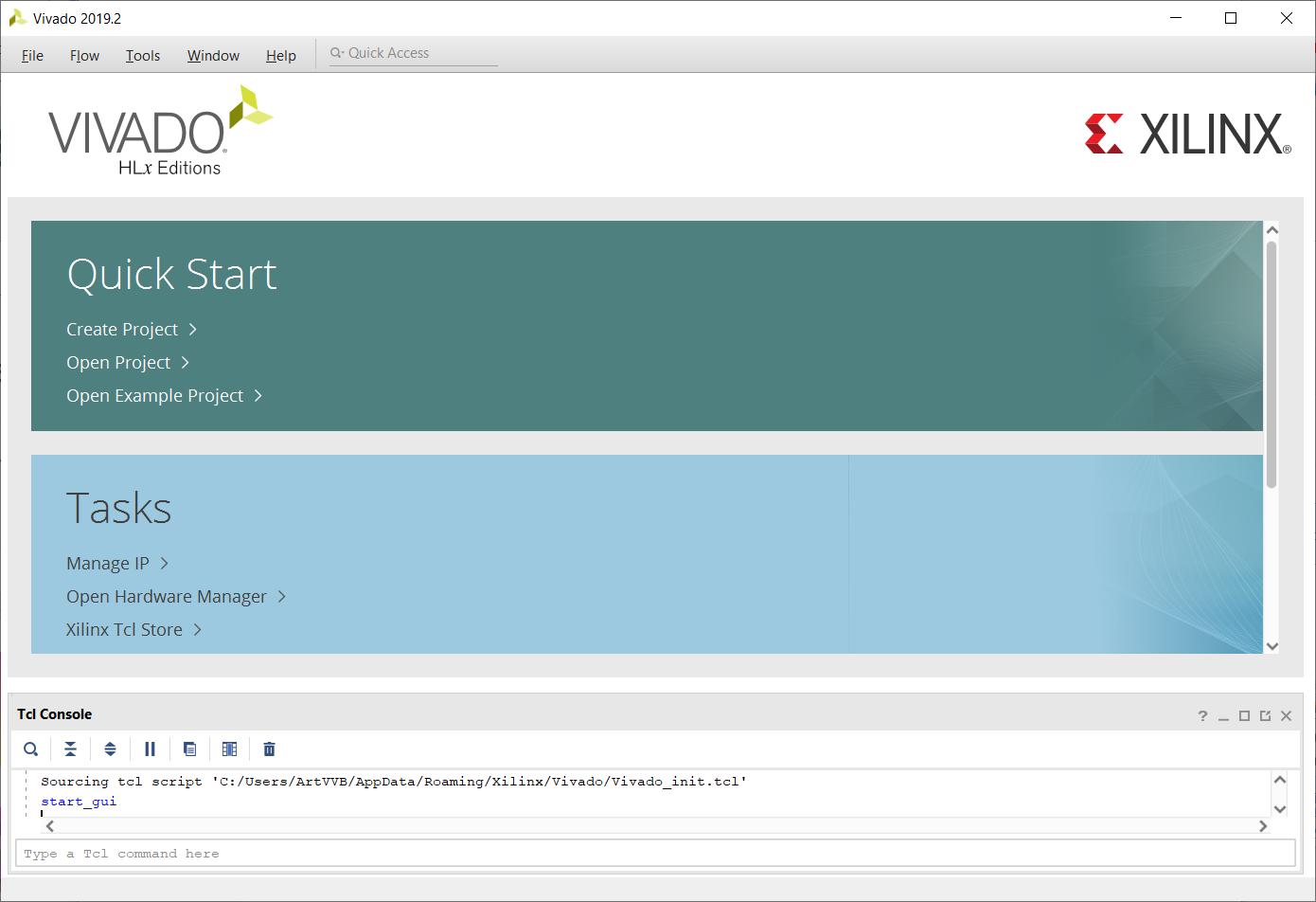 The Vivado Start Page