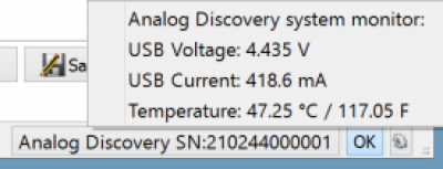 Analog Discovery 2 system monitor display