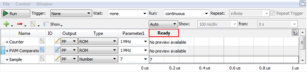 Figure 10.Pattern Generator prepared for PWM with static input.