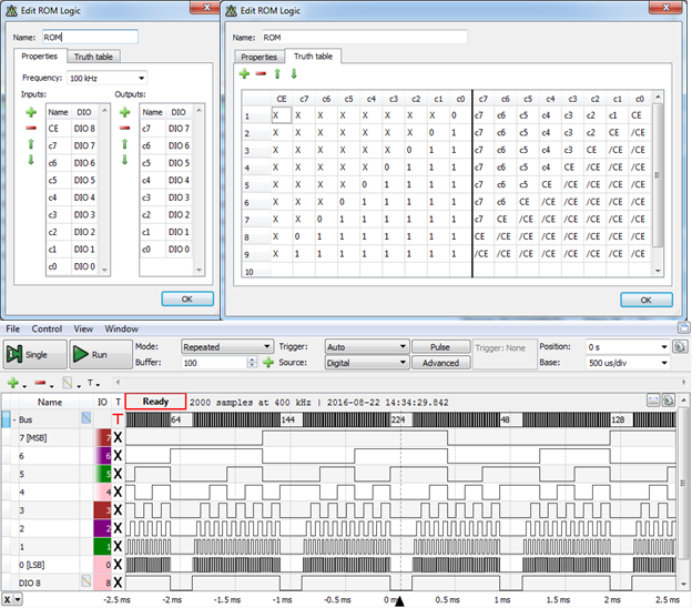 Figure 8 Defining (up/middle) and verifying (down) an 8-bit binary counter with enable ROM Logic object.
